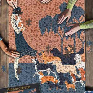A Girl With Dogs Jigsaw Puzzle Set