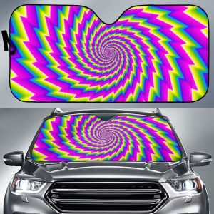 Abstract Twisted Moving Optical Illusion Car Auto Sun Shade