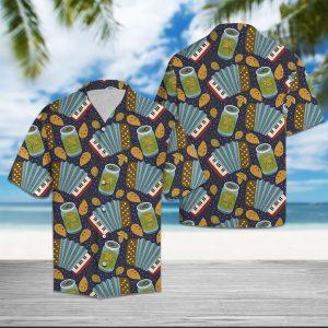 Accordion Beer Hawaiian Shirt Summer Button Up