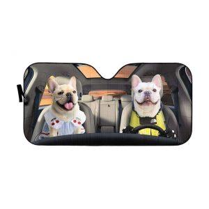 Adorable Bulldog Couple Car Auto Sun Shade