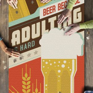 Adulting Is Hard Beer Sentiment? Jigsaw Puzzle Set
