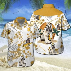Afghan Hound Beer Hawaiian Shirt Summer Button Up