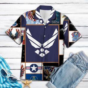 Air Force Hawaiian Shirt Summer Button Up