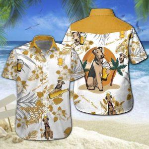 Airedale Terrier Beer Hawaiian Shirt Summer Button Up