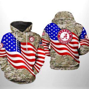Alabama Crimson Tide NCAA US Flag Camo Veteran 3D Printed Hoodie/Zipper Hoodie