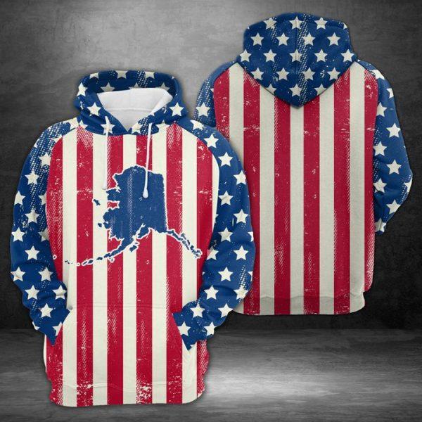 Alaska American Flag 3D Printed Hoodie/Zipper Hoodie
