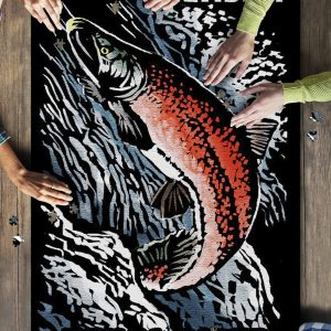 Alaska Kenai River Scratchboard Sockeye Salmon Jigsaw Puzzle Set