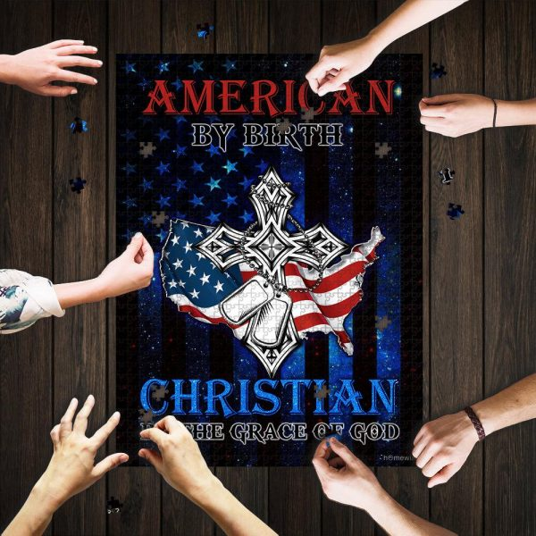 American By Birth Christian By The Grace Of God Jigsaw Puzzle Set