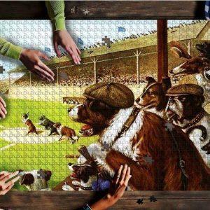 Animal Dogs At Baseball Game Jigsaw Puzzle Set