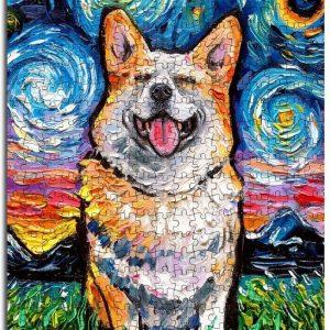 Animal Dogs, Corgi The Starry Night Jigsaw Puzzle Set