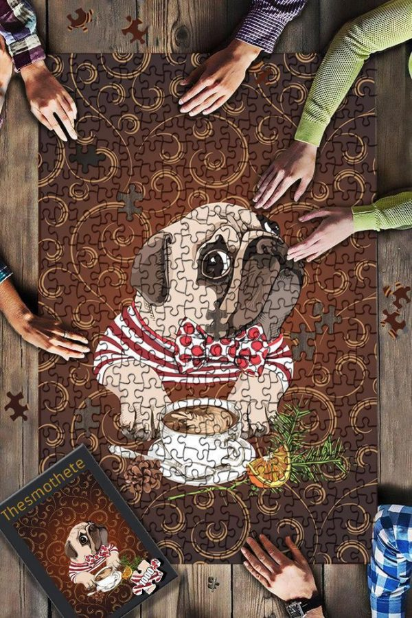 Animal French Bulldog With Coffee Jigsaw Puzzle Set