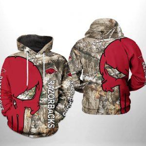Arkansas Razorbacks NCAA Camo Veteran Hunting 3D Printed Hoodie/Zipper Hoodie