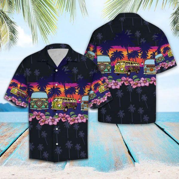 Hippie Bus Border Chest Hawaiian Shirt Summer Button Up