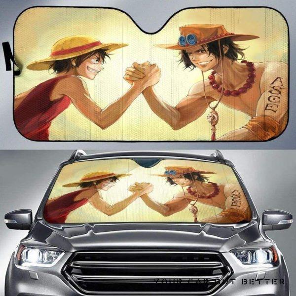 One Piece Monkey D Luffy Vs Portgas D Ace Car Auto Sun Shade