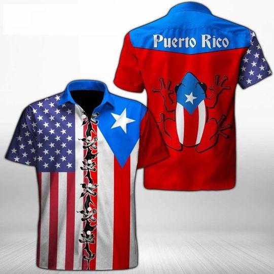Puerto Rico Hawaiian Shirt Summer Button Up