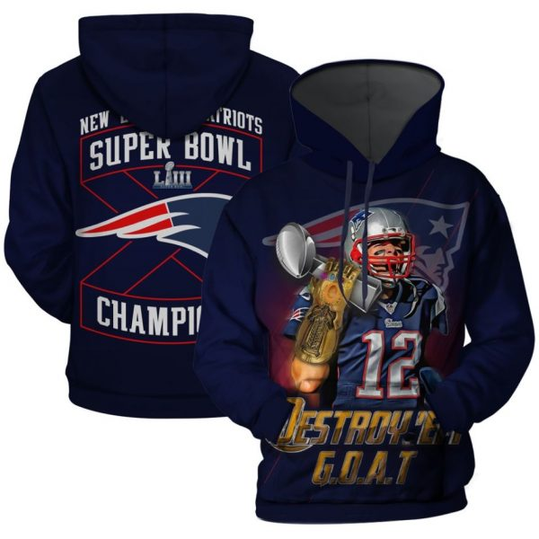 Tom Brady Thanos Gauntlet New England Patriots Super Bowl Liii Funny 3D Printed Hoodie/Zipper Hoodie