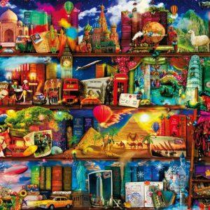 World Travel Bookshelf Jigsaw Puzzle Set