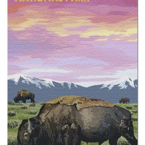 Yellowstone National Park Bison And Sunset Jigsaw Puzzle Set