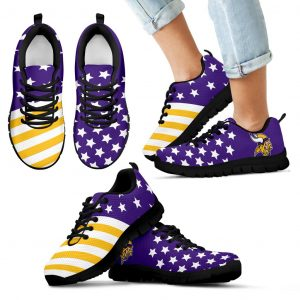 America Flag Full Stars Stripes Minnesota Vikings Sneakers