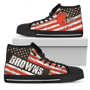 America Flag Italic Vintage Style Cleveland Browns High Top Shoes