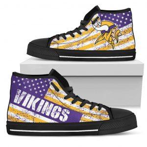 America Flag Italic Vintage Style Minnesota Vikings High Top Shoes