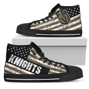 America Flag Italic Vintage Style Vegas Golden Knights High Top Shoes