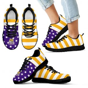 America Flag Logo Bottom Stripes LSU Tigers Sneakers