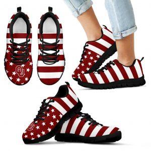 America Flag Logo Bottom Stripes Oklahoma Sooners Sneakers
