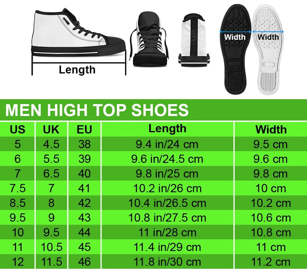 Men High Top Shoes size chart