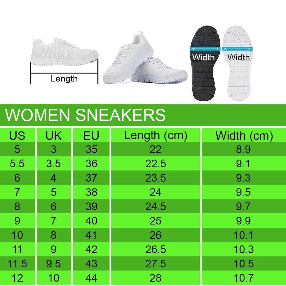 Women Sneakers Sizechart