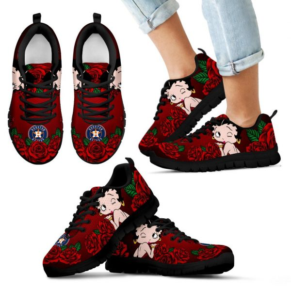 Sweet Rose With Betty Boobs For Houston AstrosSneakers