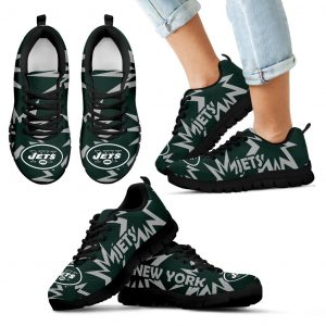 Zig Zag Circle Dizzy Excellent Nice Logo New York Jets Sneakers