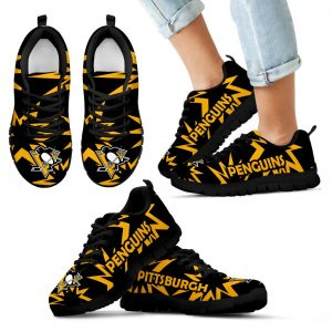 Zig Zag Circle Dizzy Excellent Nice Logo Pittsburgh Penguins Sneakers