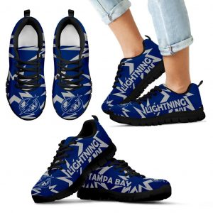 Zig Zag Circle Dizzy Excellent Nice Logo Tampa Bay Lightning Sneakers