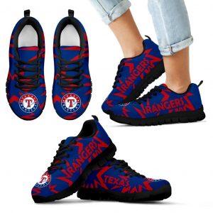 Zig Zag Circle Dizzy Excellent Nice Logo Texas Rangers Sneakers