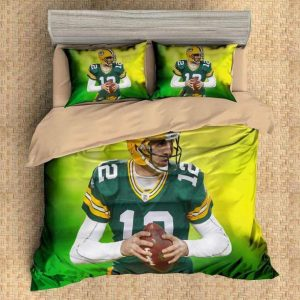 Aaron Rodgers Green Bay Packers Duvet Cover and Pillowcase Set Bedding Set